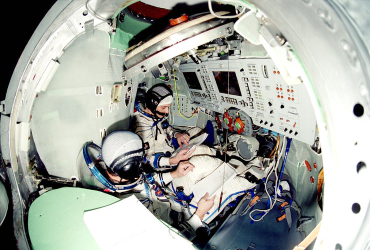 Pedro Duque training in the Soyuz simulator at Star City
