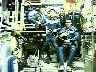 Shortly after entering ISS, the two crews received congratulations via Russian Mission Control