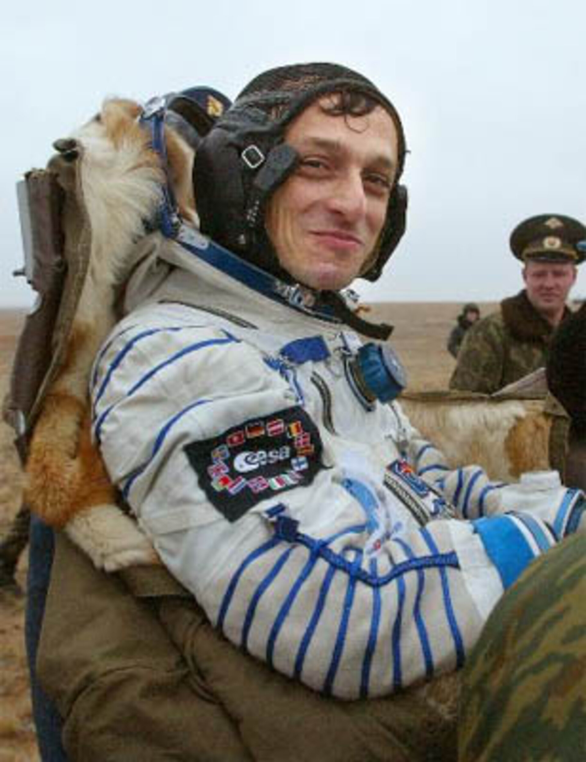 Spanish astronaut Pedro Duque shortly after landing