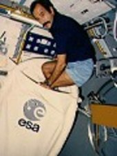 ESA astronaut Wubbo Ockels getting ready to sleep
