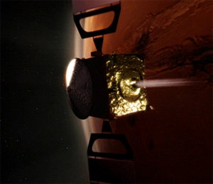 Mars Express orbiter's main engine is firing for Mars Orbit Insertion (MOI).