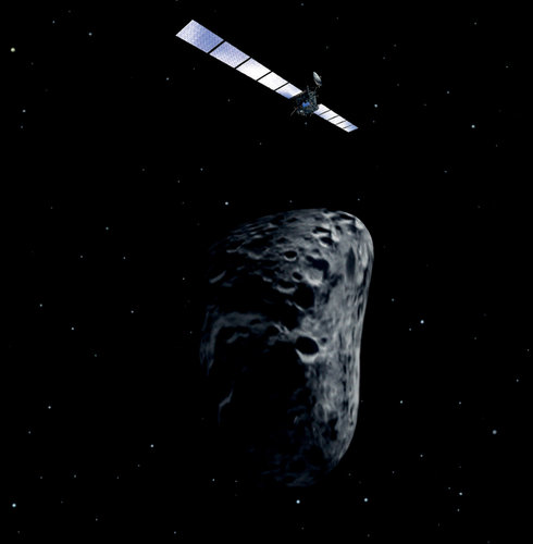 Artist's impression of Rosetta asteroid fly-by