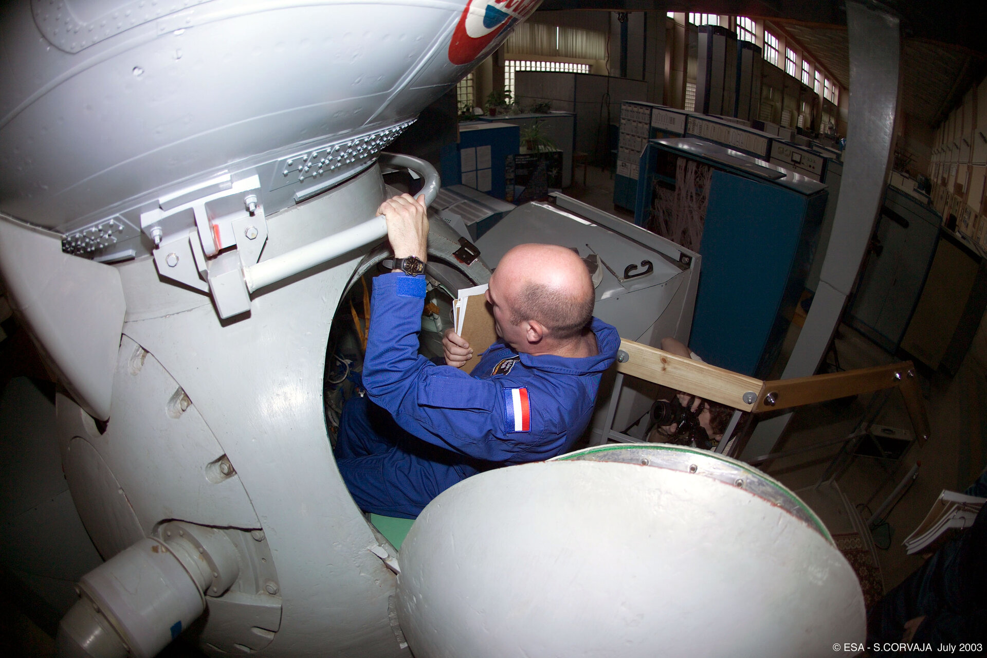 Climbing into the Soyuz simulator