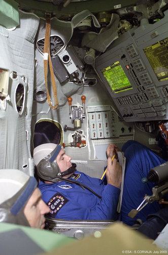 During training in the Soyuz simulator at Star City
