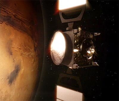 Mars Express making a close pass over Mars.