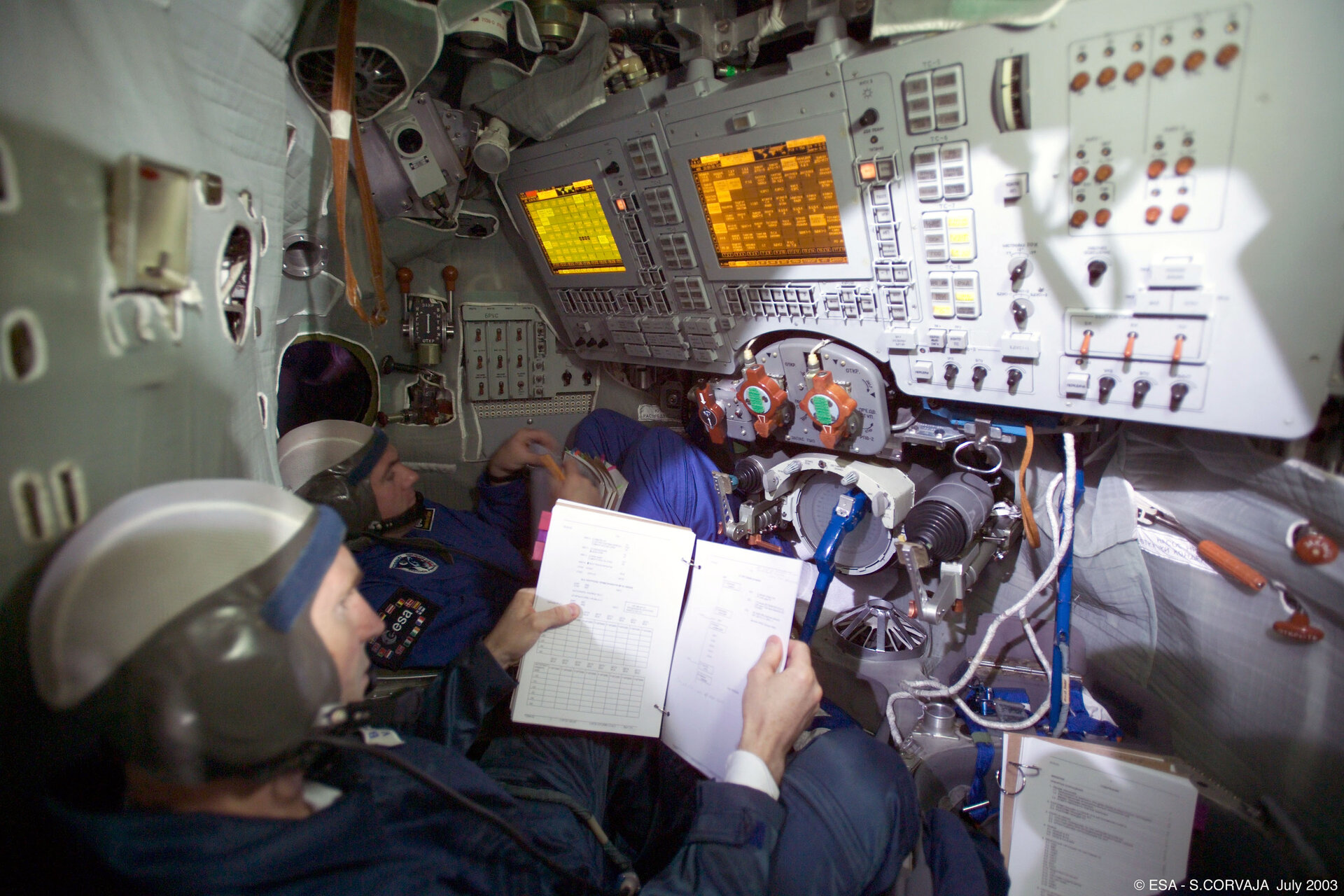 Training in the Soyuz simulator at Star City