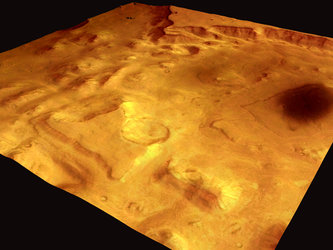 Valles Marineris perspective view, HRSC image 14 January