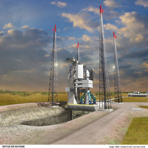 Artist's drawing of Soyuz at Europe's Spaceport