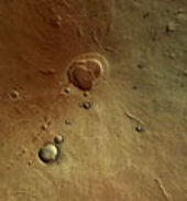 Color image of the Hecates Tholus volcano