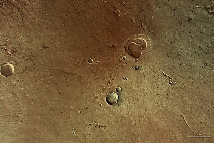 Colour image of the Hecates Tholus volcano
