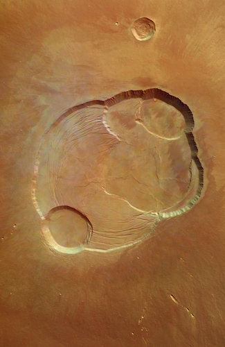 Detail of the complex caldera of Olympus Mons
