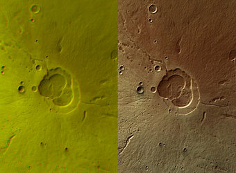 Hecates Tholus volcano in 3D and in colour