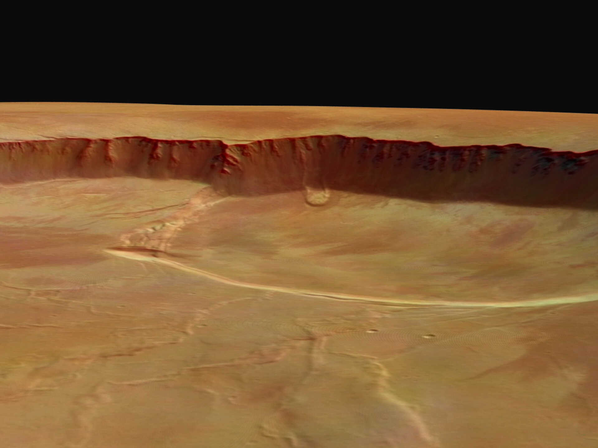 Detail of the southern part of the caldera in perspective - Mars Express