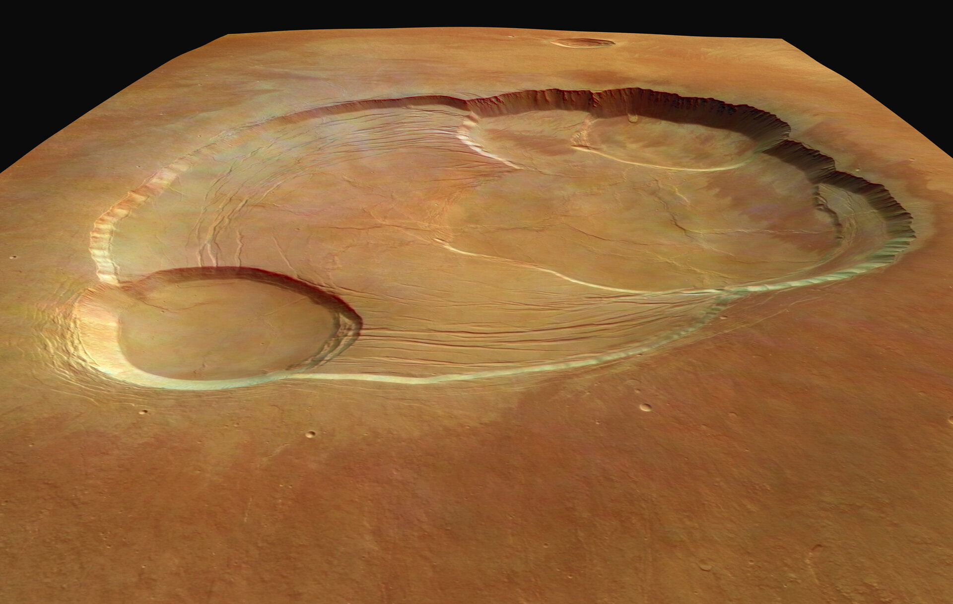 Wider perspective of the caldera - Mars Express