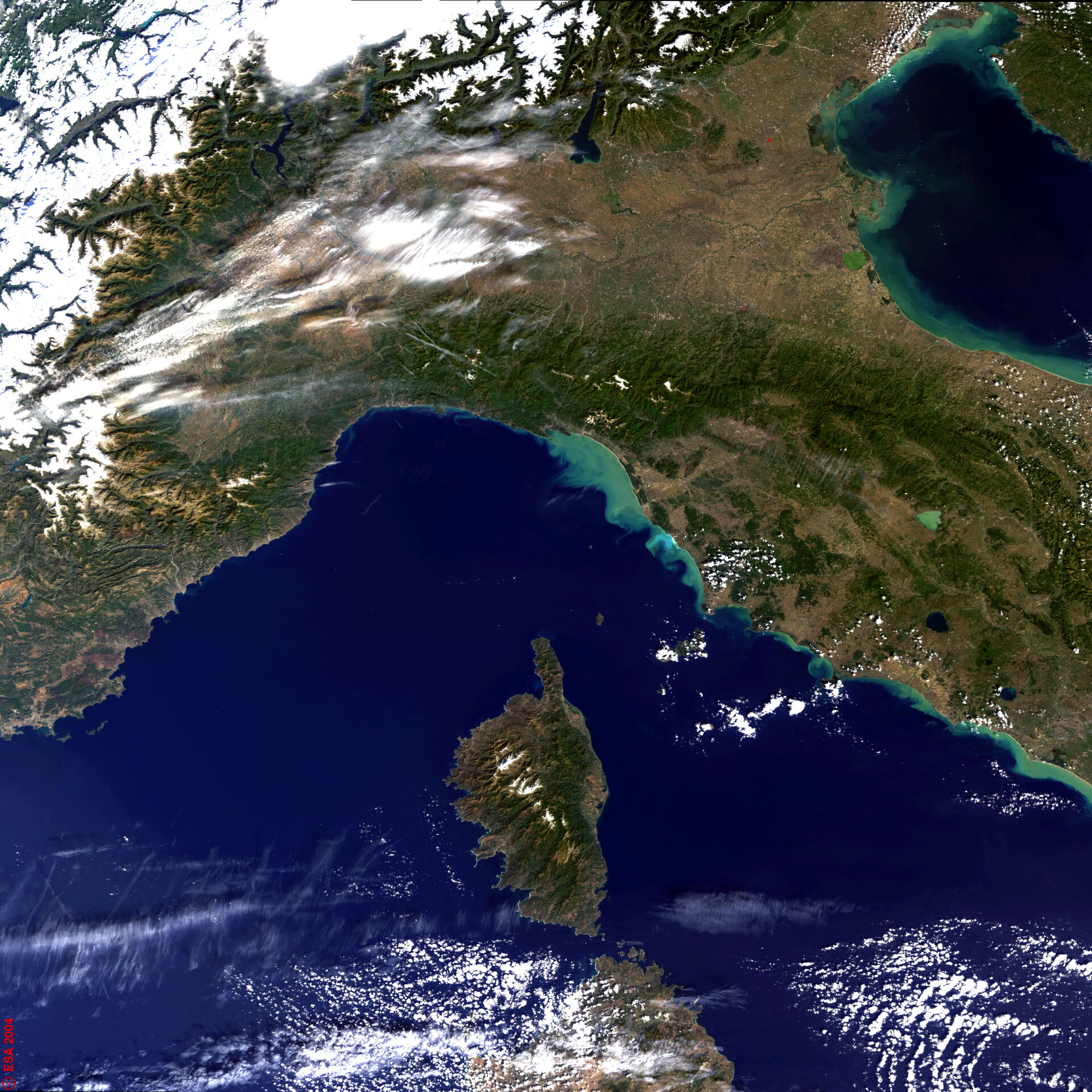 Central Italy and Island of Corse - MERIS - 6 October 2003