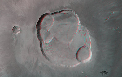 Detail of the complex caldera of Olympus Mons in 3D