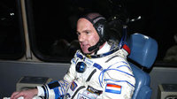 André Kuipers during the transfer to the Soyuz launch pad.
