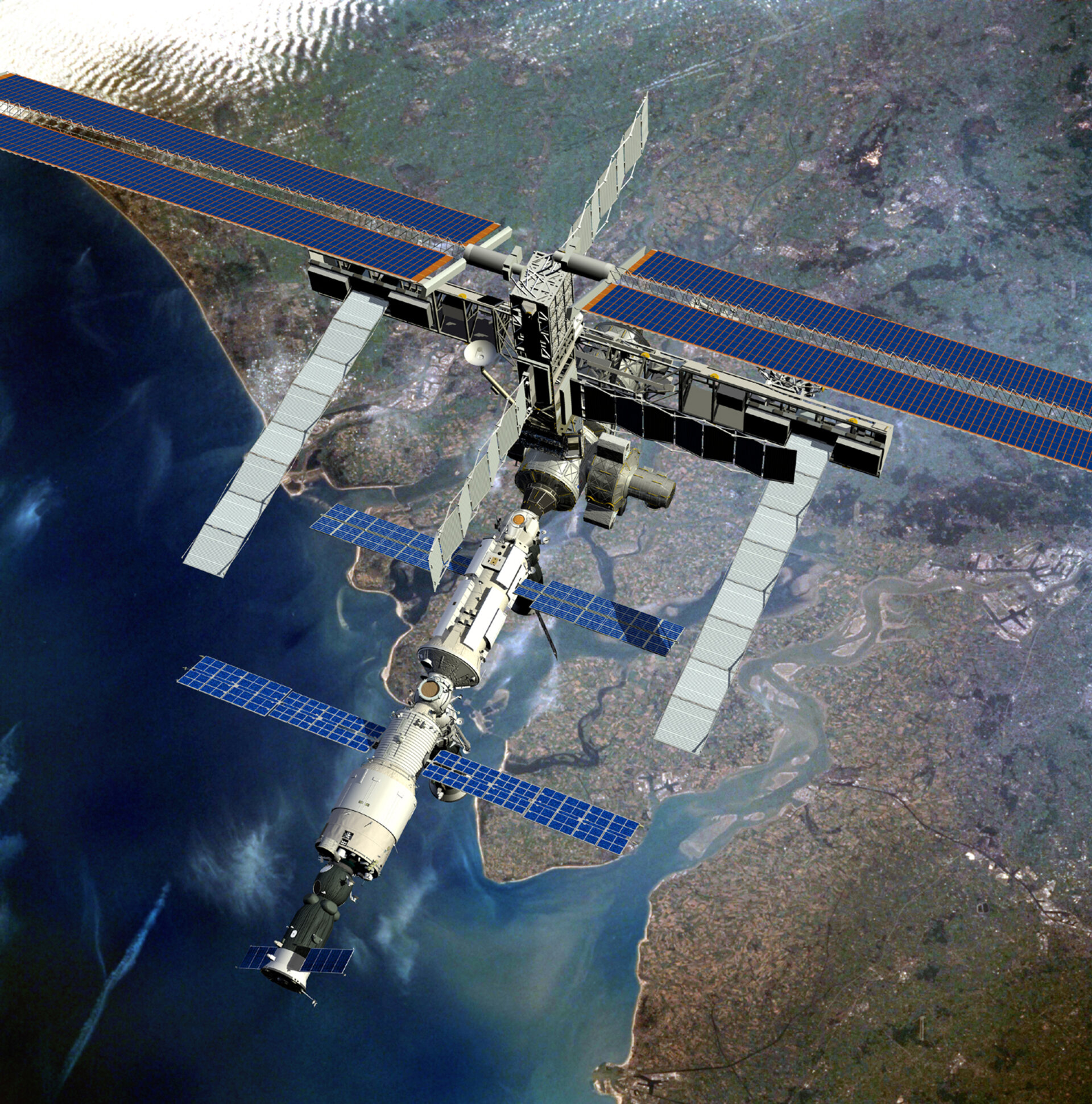 Artist's impression showing the current configuration of ISS as it passes over the Dutch coast