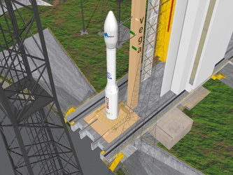 Artist's view of Vega on the launch pad