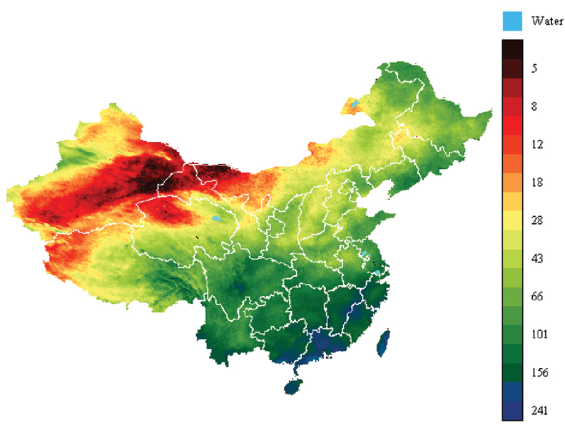 Space In Images Climatic Moisture Index Map Of China - Physical map of china 2004