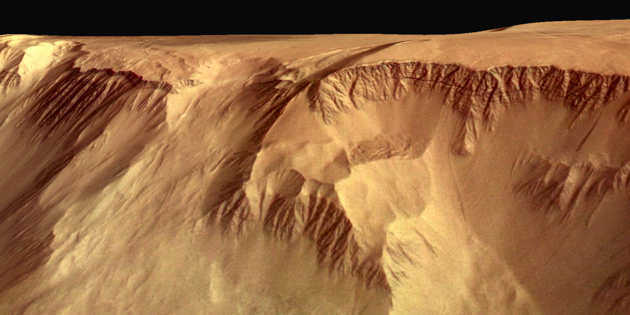 Close-up perspective view of flank of Olympus Mons