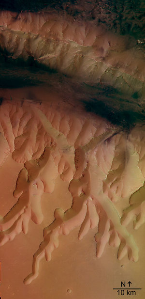 HRSC colour image of  Louros Valles
