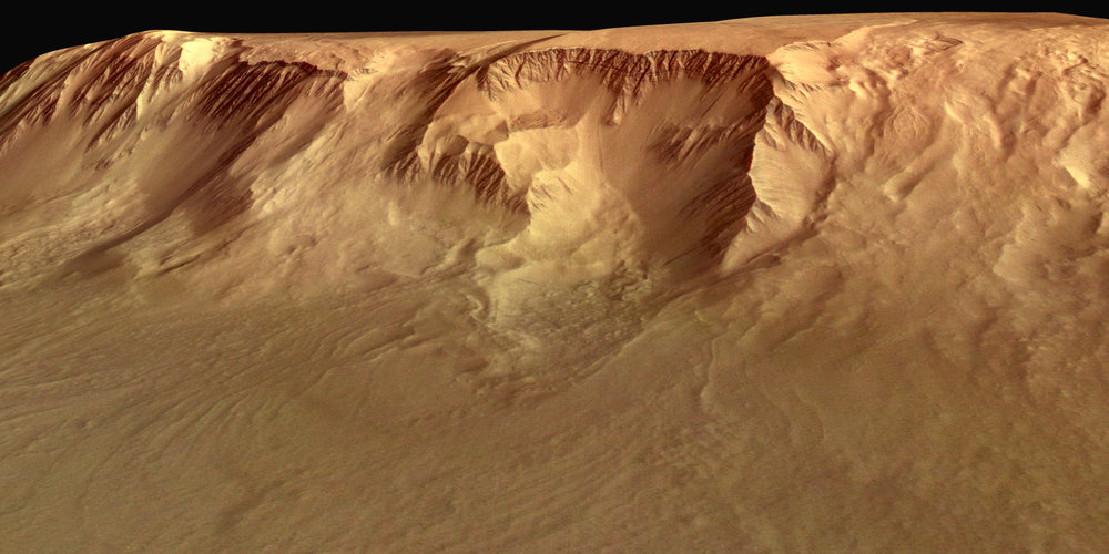 Perspective view of flank of Olympus Mons