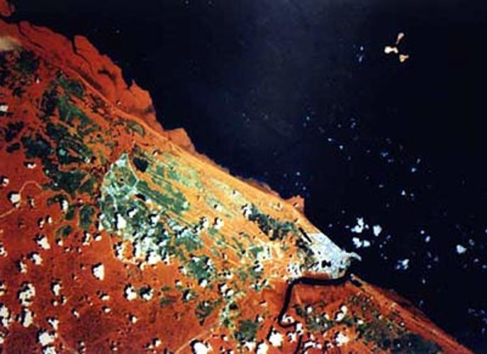 Satellite image of Kourou and the European spaceport