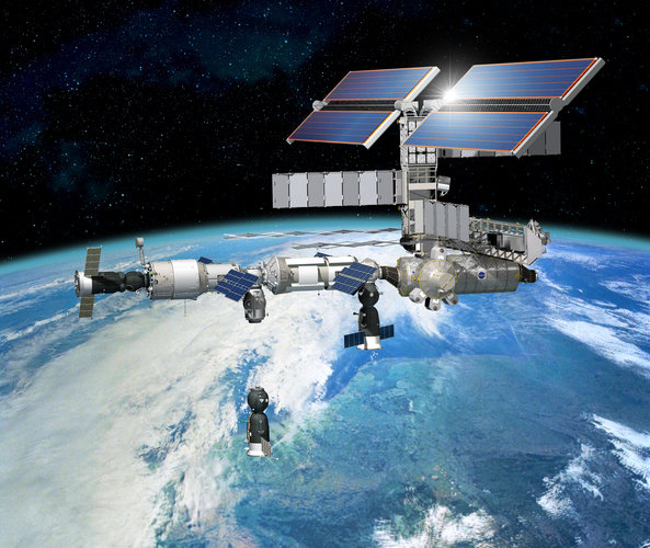 Soyuz TMA-3 undocks from the docking port on the Russian Piers module (artist's impression)