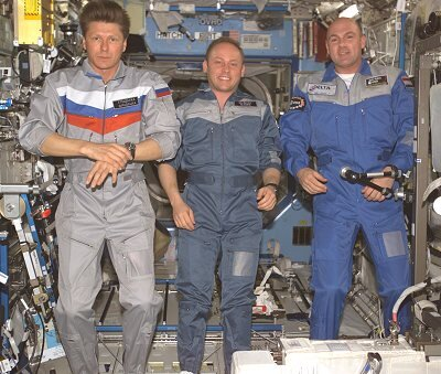 The Soyuz TMA-3 crew on board ISS