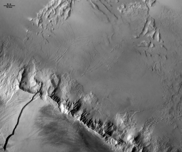Western flank of Olympus Mons (black and white)