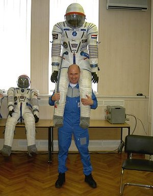 With spacesuit