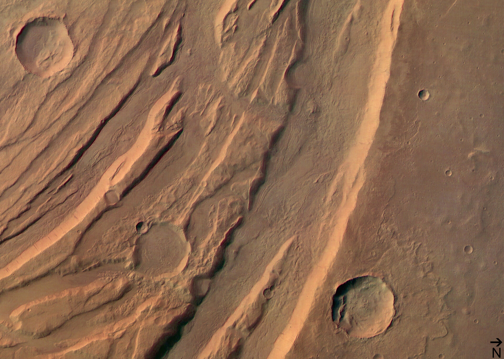 (1) Acheron Fossae horsts and grabens in colour