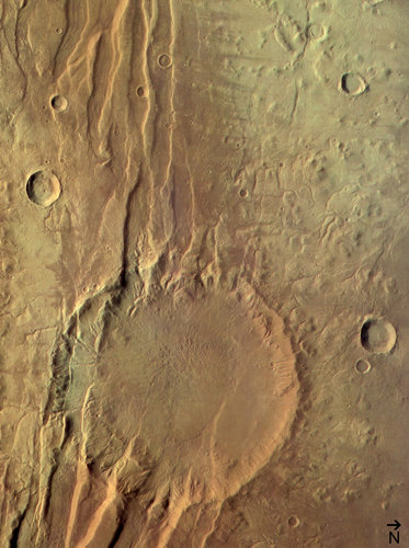 (4) Disrupted crater at Acheron Fossae, colour