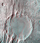 (6) Disrupted crater at Acheron Fossae in 3D