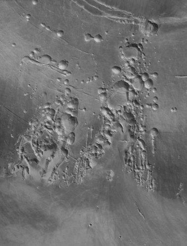 Arsia Mons volcano in black and  white