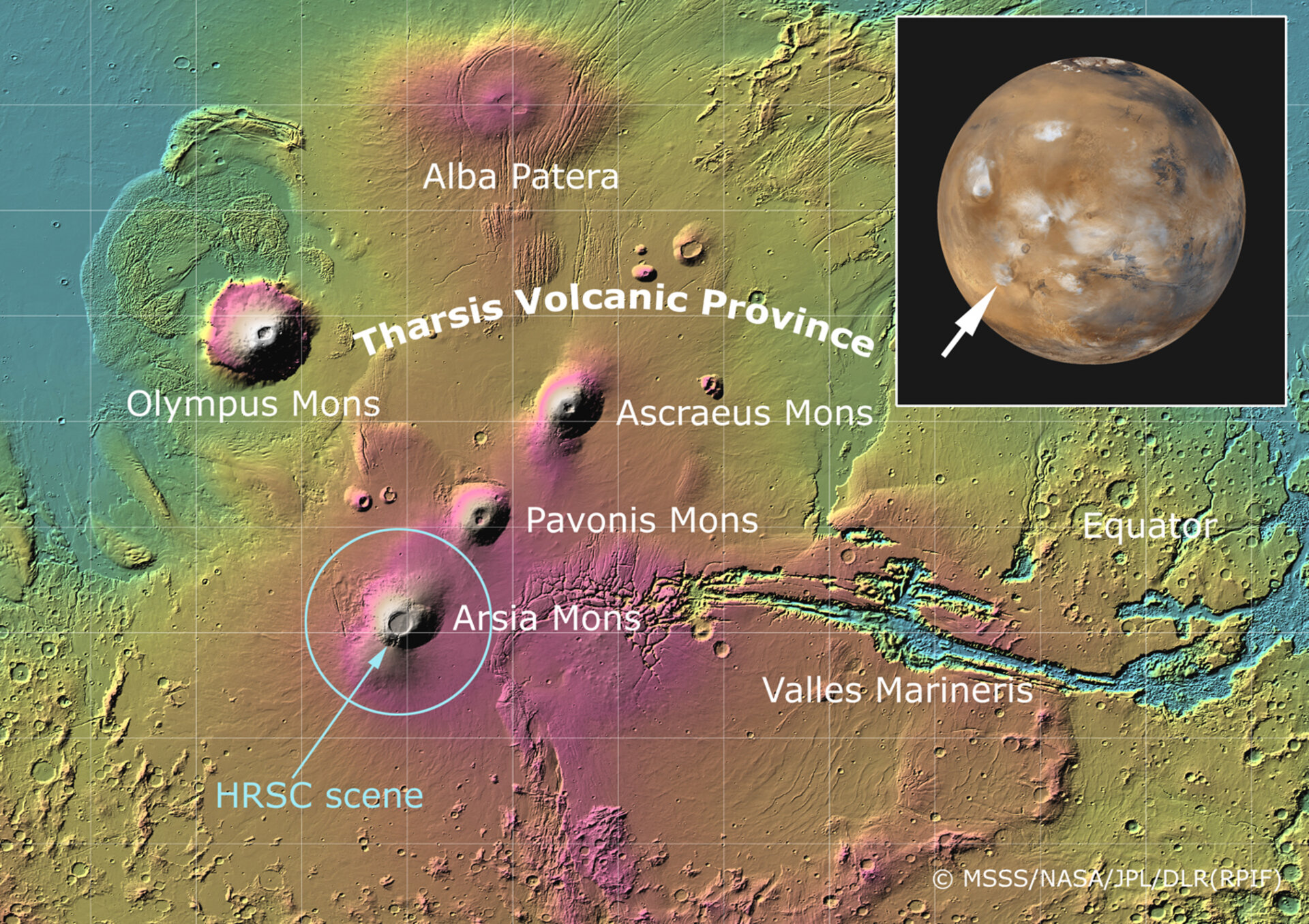 Location of Arsia Mons volcano