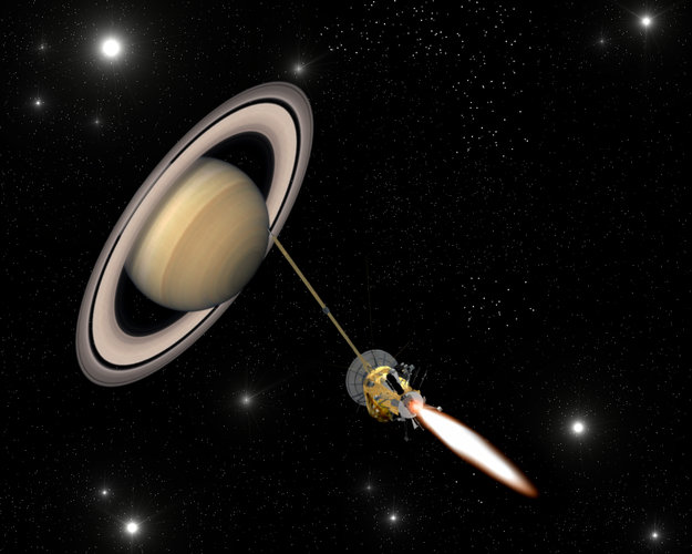 Artist's impression of Cassini-Huygens closing in on Saturn