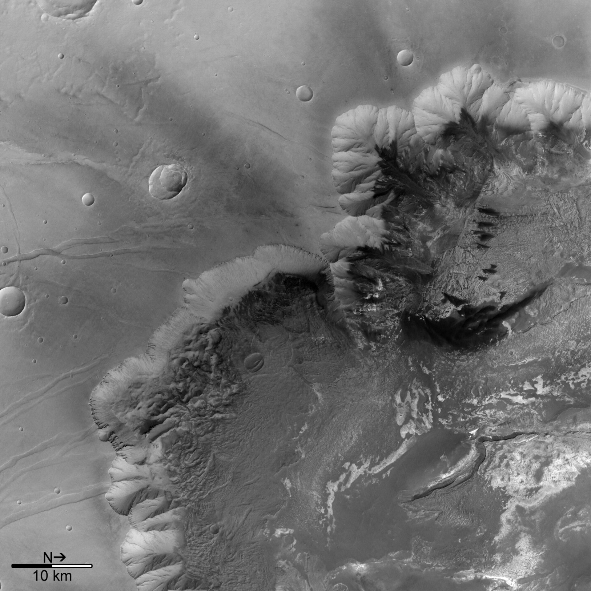 Black and white view of Melas Chasma