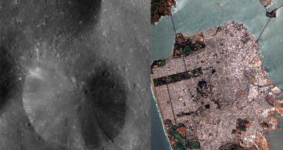 Crater on Phoebe compared in size to San Francisco bay area