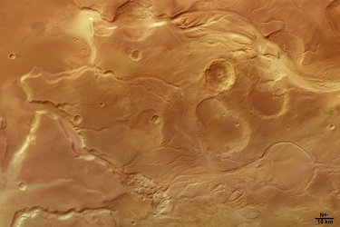 Fluvial surface features on Mangala Valles