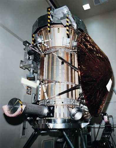 View of the Huygens probe mounted on Cassini, showing heatshield