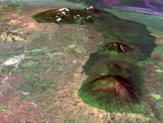 Virtually overflying Volcanoes National Park using BEGo data