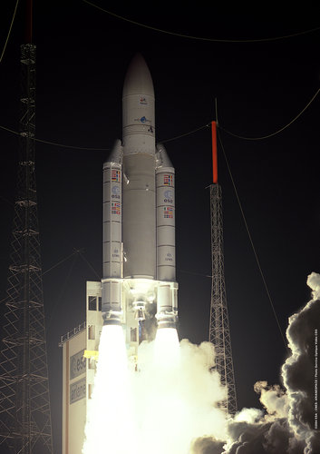 Ariane 5 delivers! Anik F2 is the largest commercial telecom satellite ever launched