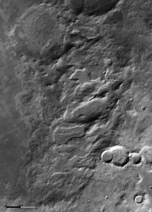 Black and white view of Hellas basin rim