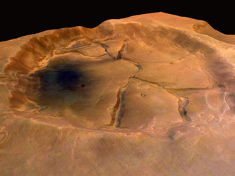 Fractured crater near Valles Marineris