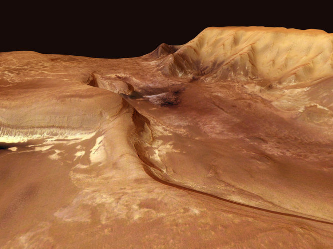 Perspective view of deposits in Melas Chasma