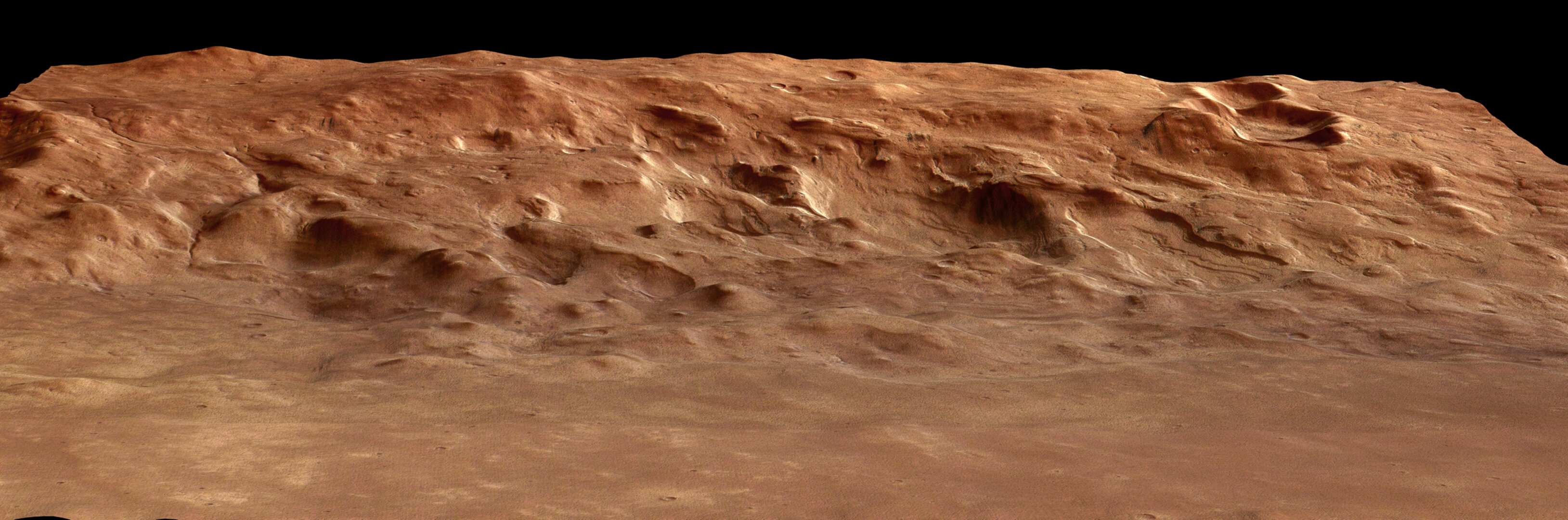 Perspective view of Hellas basin rim