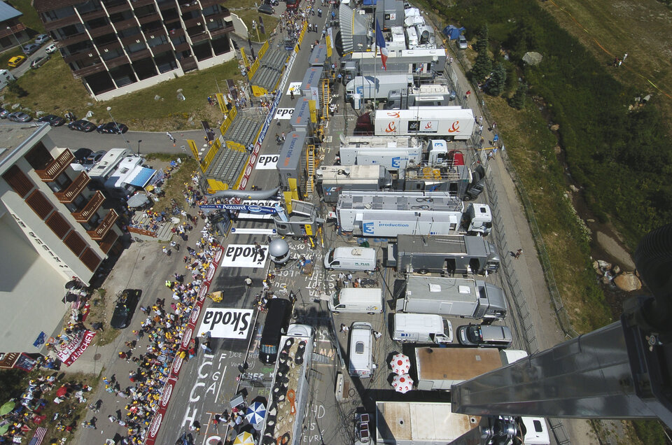 The technical zone of Tour de france at the arrival in Alpe d'Huez