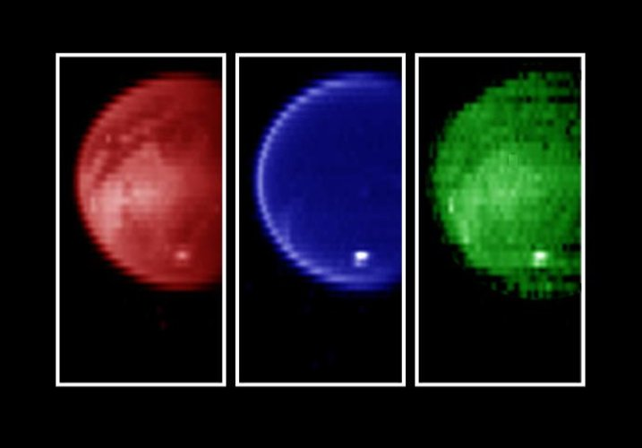Titan - Infrared views of the surface at three wavelengths